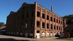 Abandoned factory, old building. Ruins.  Broken window Stock Footage