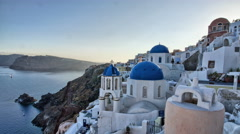 White-washed Churches in Oia, Santorini - stock footage