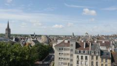 Panning over  city of Caen located in northern French region Normandy 4K  Stock Footage