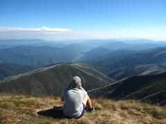 Student admiring view from Mount Feathertop Stock Photos