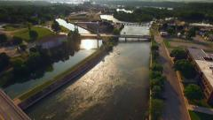Aerial View of Scenic Locks on Fox River, Wisconsin Stock Footage