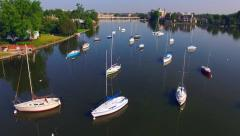Beautiful Sailboats in Harbor in Menasha Wisconsin, Aerial View - stock footage