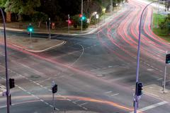 Intersection Light Trails Stock Photos
