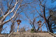 Way to Chureito Pagoda in Winter, Fujiyoshida, Japan Stock Photos