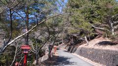 Gate to Chureito Pagoda in Winter, Fujiyoshida, Japan - stock photo