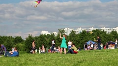 People fly kites on the kite festival in park Tsaritsyno in Moscow, Russia Stock Footage