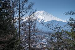 Mount Fuji view from Red pagoda in japan - stock photo