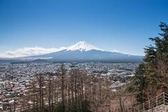 Fujikawa Town and Mountain Fuji view from Red pagoda in japan Stock Photos