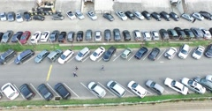 Drone scene of old classic tribune. From detail of parking to view of stadium Stock Footage