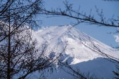 Mount Fuji view from Red pagoda in japan Stock Photos