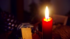 Red burning candle Stock Footage