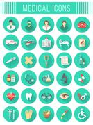 Flat round vector medical and healthcare icons with long shadows - stock illustration