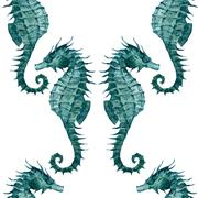 Stock Illustration of Watercolor seahorse pattern