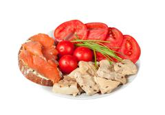 Proper nutrition for athletes isolated on white with clipping path - stock photo