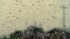 Rain on window 01 Stock Footage