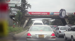 Maximum safety advert on bridge, Nairobi highway, Kenya, Africa - stock footage