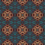 The round oriental seamless pattern - stock illustration