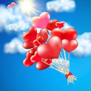 Heart-shaped baloon in the sky. EPS 10 Stock Illustration