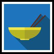 Bowl and chopsticks - stock illustration