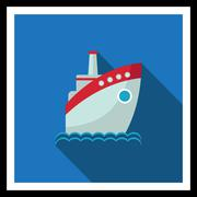 Motor ship - stock illustration