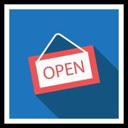 Open door sign - stock illustration