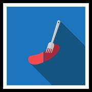 Sausage on fork - stock illustration