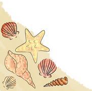 shell sand corner - stock illustration