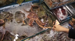 Seller woman catch the king crab out of showcase to show to tourist Stock Footage