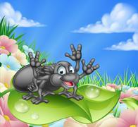 Cartoon Spider in Meadow Stock Illustration