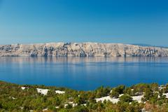 Adriatic Sea and Krk Island, Croatia - stock photo