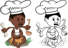 African Chef cook - stock illustration