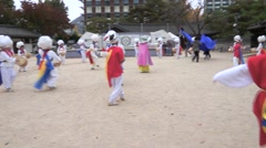 Stock Video Footage of Many buddhist korean enjoy in colorful traditional festivities parade