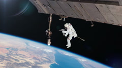 Astronaut Working On International Space Station. - stock footage