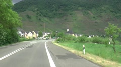 Driving the road between the village of Bremm and the River Moselle Stock Footage