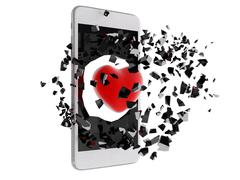 Red heart burst out of the smartphone. - stock illustration