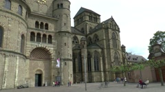 Tourists are visiting  the High Cathedral of Saint Peter in  Trier Stock Footage