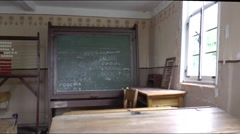 Old schoolclass in the open air museum Roscheider Hof, in Konz, Stock Footage