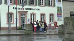 Many tourists take a guided tour in  Trier Stock Footage