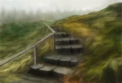Stair in the hills Stock Illustration