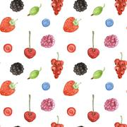 Watercolor berry in vintage style - stock illustration