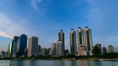 Bangkok night and Benchakitti Park, Timelapse 4k Stock Footage