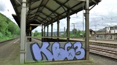 The railway station of the small village  Karthaus is desolated and abandoned, Stock Footage