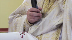 Sermon priest microphone in hand Stock Footage