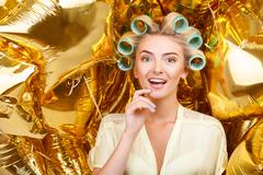 Attractive young blond housewife on astounding celebration - stock photo