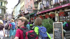 The centre of Linz, is filled with half-timbered Houses Stock Footage