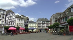 The centre of Linz, is filled with half-timbered Houses - stock footage