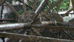 Water Mill wheels turning, up close,  France Stock Footage