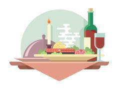 Dinner at restaurant illustration - stock illustration