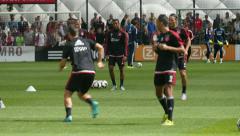 Football training Ajax: passing Stock Footage
