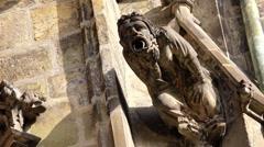 Prague Saint Vitus Cathedral Gargoyle Statues Stock Footage